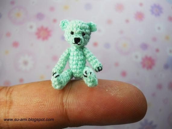 Tiny Crochet Teddy Bear  - Micro Dollhouse Miniature Animal - Thread Crochet Green Bear