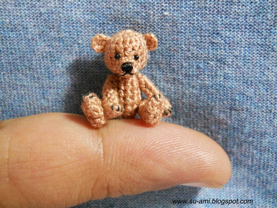 little Bear 1 Inch - Tiny Brown Bear - Teddy Bear Miniature - Bear Plush Toy - Thread Crochet Bear