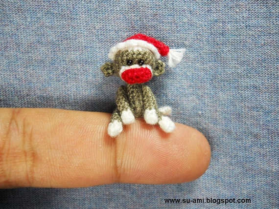 Miniature Sock Monkey With Santa Hat - Tiny Mini Crocheted Grey Monkeys - One Inch Scale