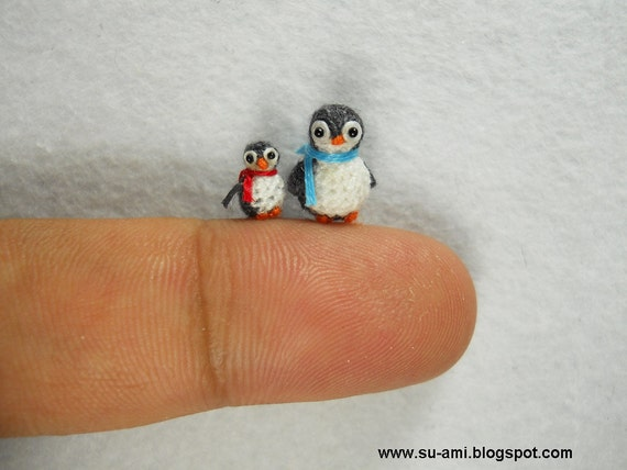 Micro Miniature Penguins - Mini Tiny Crochet Penguin Amigurumi - Set of Two Penguin Chicks - Made To Order