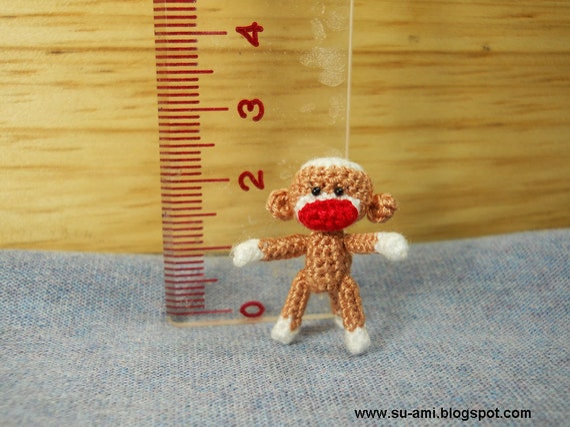 Cute Baby Sock Monkey - Dollhouse Miniature Monkeys - Micro Thread Crochet Animals - Made To Order