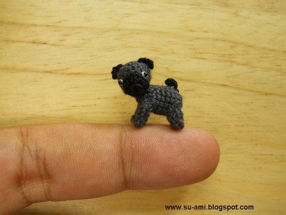 Micro Black Pug Dog - Tiny Dollhouse Miniature Pet - Thread Crochet Animals - Made to Order
