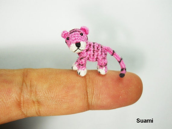 Micro Crochet Baby Tiger - Mini Tiny Dollhouse Miniature Animals - Made To Order