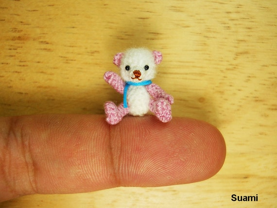 Tiny Doll Amigurumi Bear Micro Thread Crochet Miniature