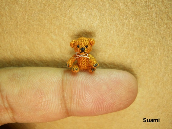 Extreme Micro Bear - Tiny Dollhouse Miniature Animals - 1/2 Inch Scale Crochet  Brown Bear with Silver Bow