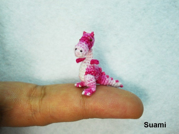 Tiny Pink Tyrannosaurus - Micro Dollhouse Miniature Crocheted Dinosaurs - Made To Order