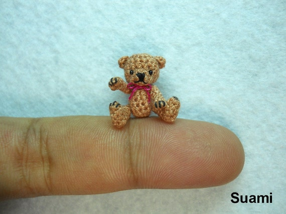 Little Brown Bear - 0.8 Inch Scale Tiny Thread Crochet Teddy Bear Pink Bow - Made To Order