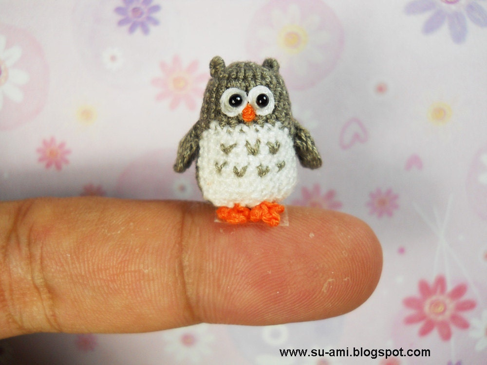 Tiny Grey Owl Plush Owl Owl Miniature Stuffed Owls
