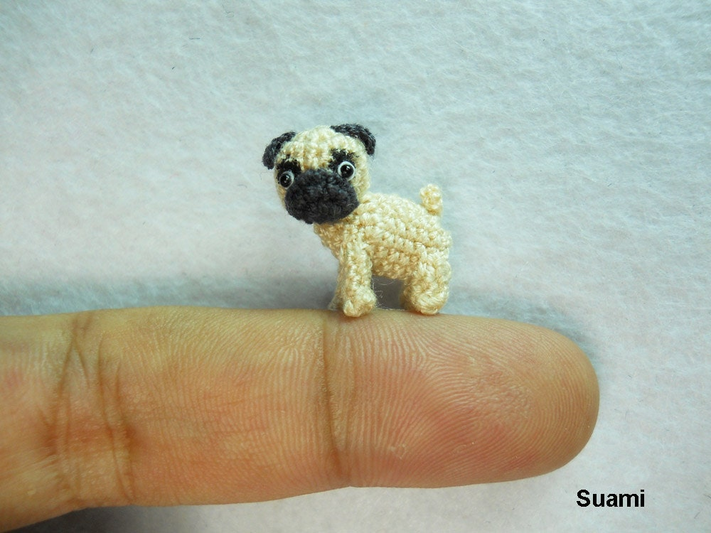 micro pug micro miniature tan pug dog teeny tiny dollhouse by suami 699