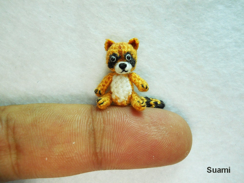Amigurumi To Go Raccoon : Crochet Miniature Raccoon Tiny Amigurumi Crocheted by SuAmi