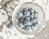 Kitchen Decor Blueberries Fruit Shabby Chic Kitchen Art - Food Photography - Blue, white, grey. Whimsical Photograph. .