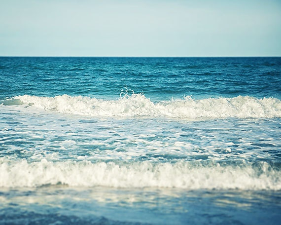 Beach Photography - Turquoise Water - Ocean Decor - Beach House - Seaside Surf - Waves - Beach Home Decor - Aqua, Blue, Teal, White - .