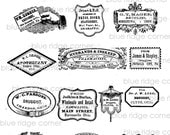 Vintage Medicine Labels 1800s Druggist Apocathery Digital Download Collage Sheet A