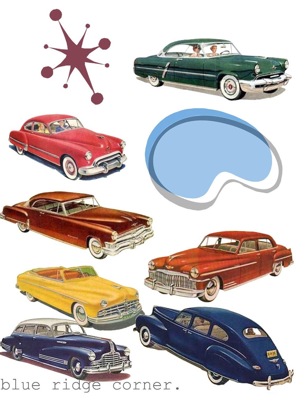 Retro Cars 1950s Classic Car Images Clip Art PNG Clipart