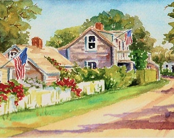 """Nantucket in July, 5""""x7"""" matted print"""