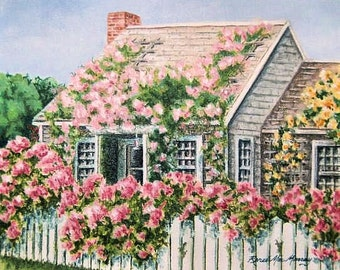 "8 x 10 matted print of ""Rose Covered Cottage, Nantucket"""