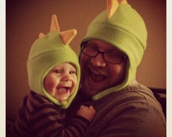 Adult and Baby Dinosaur Matching Set of Fleece Hats