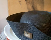 TREASURY ITEM Vintage women's navy blue straw hat with little brass cat pin by LemonInMyTea on Etsy