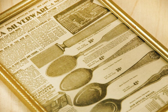 Vintage Sears Catalogue 1900s Alaska Silverware Graphic in Brass Frame