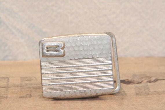 "Monogramed with Letter ""B"" - 1920s - Silver Plated - vintage belt buckle"