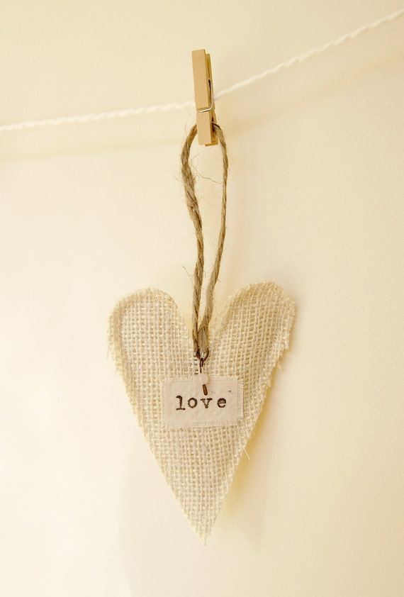 LOVE burlap heart