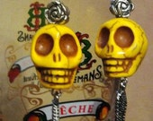 Yellow Day of the Dead with Wings and Roses Earrings