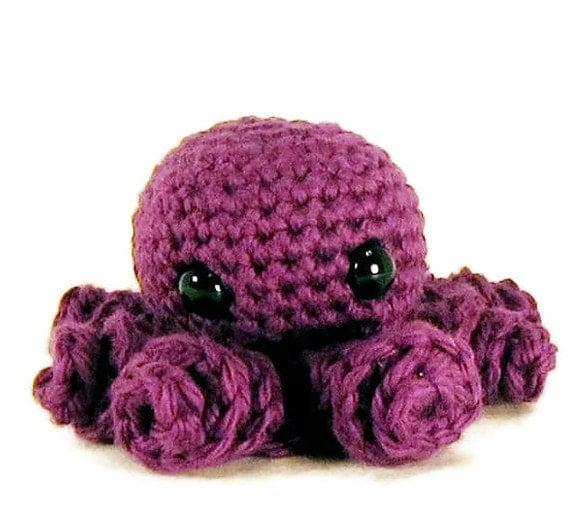 Amigurumi Cotton Yarn : Items similar to Crocheted Purple Octopus - Amigurumi ...