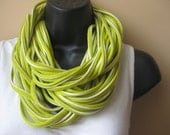 Lime Green and White Striped Twisted Tee shirt Scarf