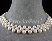 Free Shipping - Triple-Row 7-8MM 16 Inches White Color Freshwater Pearl Necklace