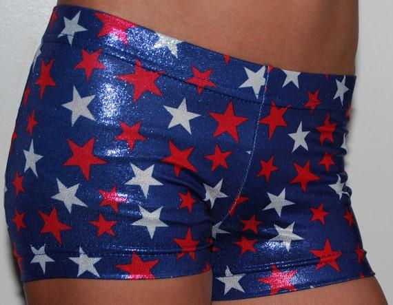Child Mystique Blue Patriotic Shorts for Dance, Cheer and Gymnastics