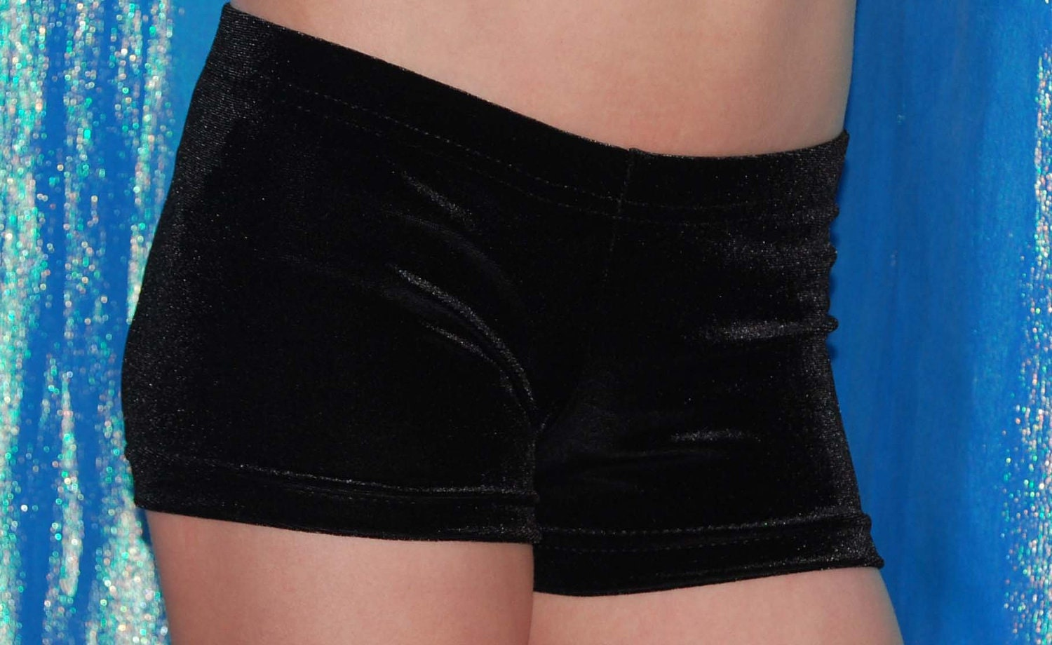 Personalised Black lycra Gymnastics shorts with NAME in