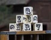 Rustic-Retro Cowboy Baby - Western Theme Toy Wood Blocks - Set of Six