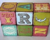Rustic Whimsical and Retro Antiqued Baby Alphabet Blocks  - Set of Six - Toy or decor wood block set
