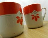 Two Large Vintage Japan Orange Coffee Mugs