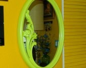 Hand Painted Retro Syroco Oval Mirror Lime Green