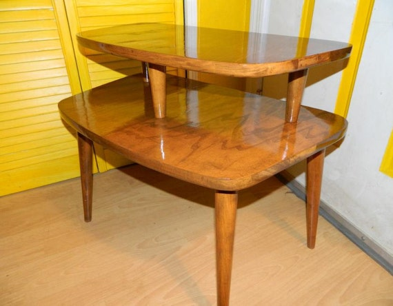 Vintage 1950's Two Tiered End Table Mid Century Modern