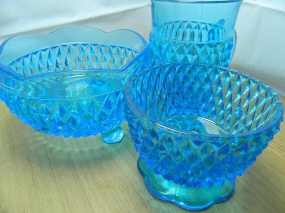 Vintage Electric Blue Glassware Set