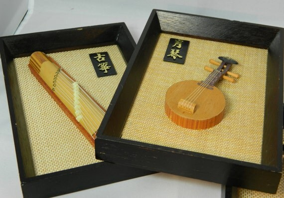 Mid Century Asian Framed Instruments Set of 3 Danish Modern