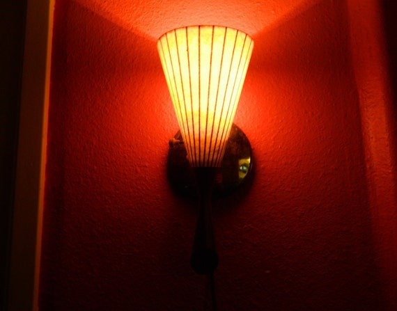 Mid Century Danish Modern Teak Wall Sconce Light Fiberglass Shade