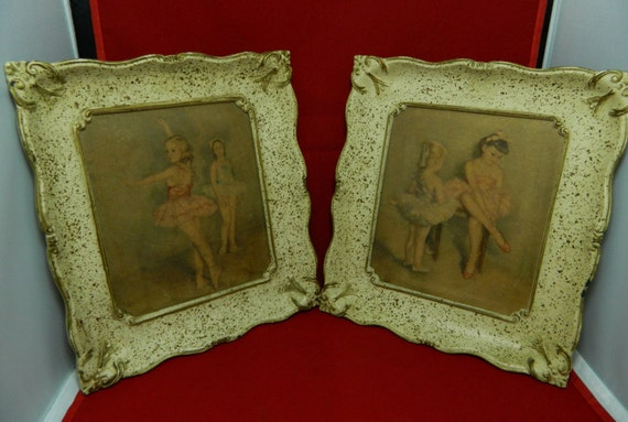 Two Ornate Picture Frames with Ballerina Prints Vintage