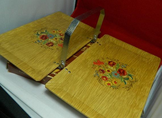 Vintage Hasko Tuck-A-Way Folding Tray Original box