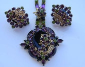 Vintage Juliana Style Purple and Peridot Rhinestone Necklace & Earrings Set Dimensional Layered