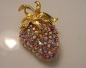 SPARKLING Weiss Pink AB and Gold Tone Strawberry Brooch
