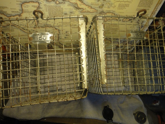 Antique Locker Basket Farm Chic and or  Industrial - Set of TWO