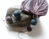 Leaf Earrings, Chocolate Polymer Clay, Sterling Silver