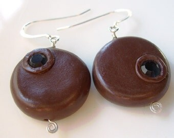 Brown Mismatched Earrings, Coin Earrings, Chocolate River, Sterling Silver