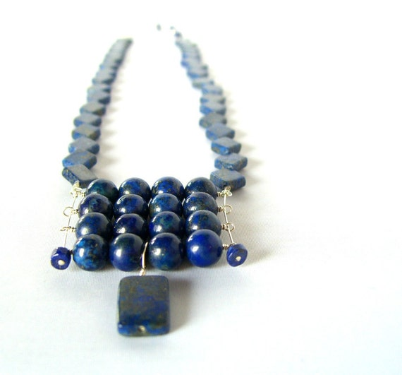 Lapis Lazuli Necklace, Geometric Blue Gemstone, Sterling Silver