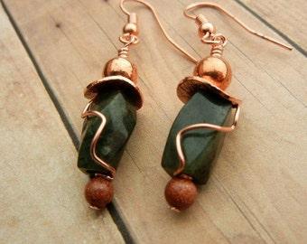 Dark green earrings of serpentine & goldstone gemstones with copper accents
