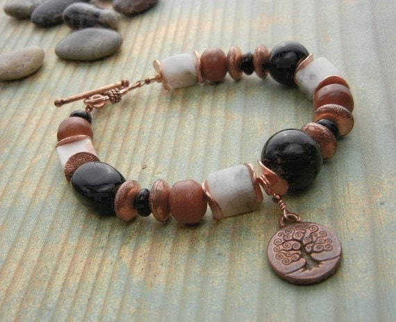 Tree of Life antique copper charm bracelet with goldstones, jasper gemstones, calcite crystals & copper beads funky bracelet