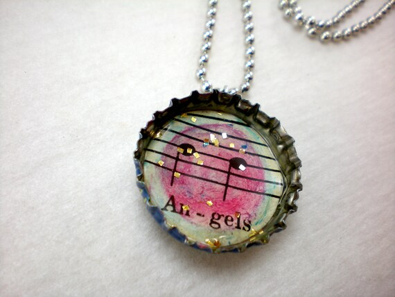 "bottle cap pendant, musical notes, magenta ""Angels,"" pop top bail on ball chain"